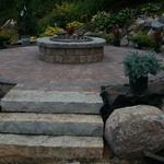 Raised Fire Pit with Paver Patio in Lakeville MN