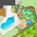 Backyard Landscape Plan Around an Existing Pool with Paver Patio Addition, Hot Tub, Fire Pit, Stone Walkway & Plantings.