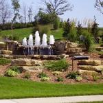 Beautiful Waterfall with Bubbling Fountain Jets Located in Woodbury MN